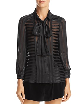 Alice and Olivia - Willis Striped Tie-Neck Blouse
