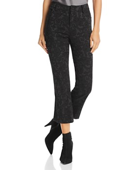 Alice and Olivia - Drew Flocked Cropped Flared Jeans in Black