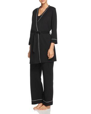 Let Me Sleep Maternity/Nursing Pajamas & Robe Set in Black/ Ivory
