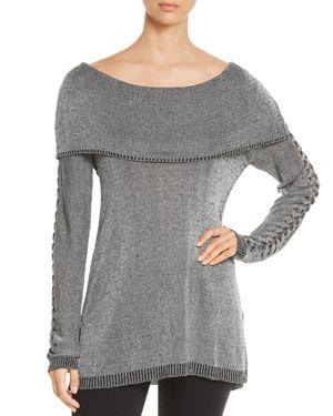 HEATHER B Lattice-Sleeve Sweater in Gray