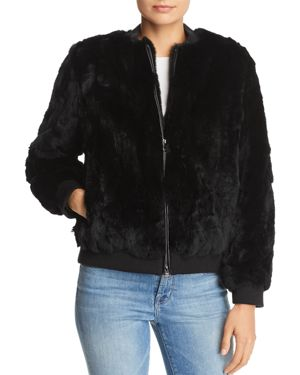 525 AMERICA Real Rabbit Fur Bomber Jacket - 100% Exclusive in Black