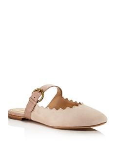 Chloé - Women's Lauren Round Toe Suede & Leather Mules