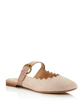 Chloé - Women's Lauren Round Toe Suede & Leather Mules