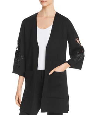 KOBI HALPERIN Della Open-Front Sweater With Embroidered Sleeves in Black