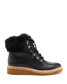 Botkier -  Women's Winter Leather & Rabbit Fur Lace Up Boots