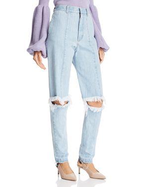 KSENIA SCHNAIDER Cutout Straight Jeans In Light Blue