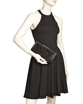 Sondra Roberts - Medium Rhinestone-Embellished Satin Clutch Crossbody