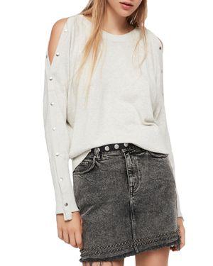ALLSAINTS Suzie Snap Sleeve Sweater in Silver Grey