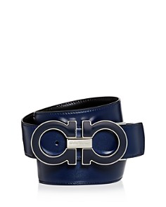 Salvatore Ferragamo - Oversized Enamel Double Gancini Reversible Leather Belt