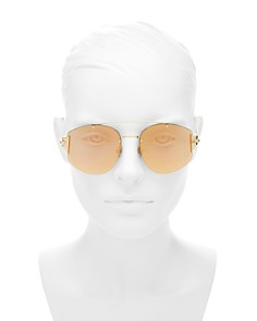Dior - Women's Stronger Mirrored Brow Bar Rimless Square Sunglasses, 58mm