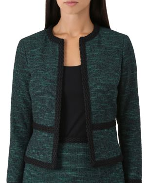 Felicia Tweed Cropped Jacket, Green Navy