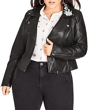 City Chic Plus Floral Faux-Leather Moto Jacket