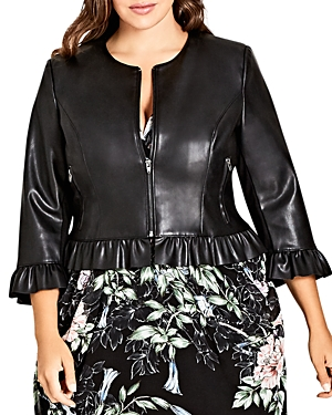 City Chic Plus Faux-Leather Ruffle-Trim Jacket