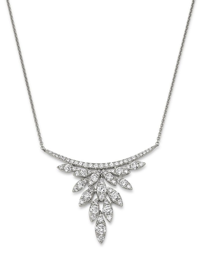 Bloomingdale's - Diamond Petals Pendant Necklace in 14K White Gold, 1.0 ct. t.w. - 100% Exclusive