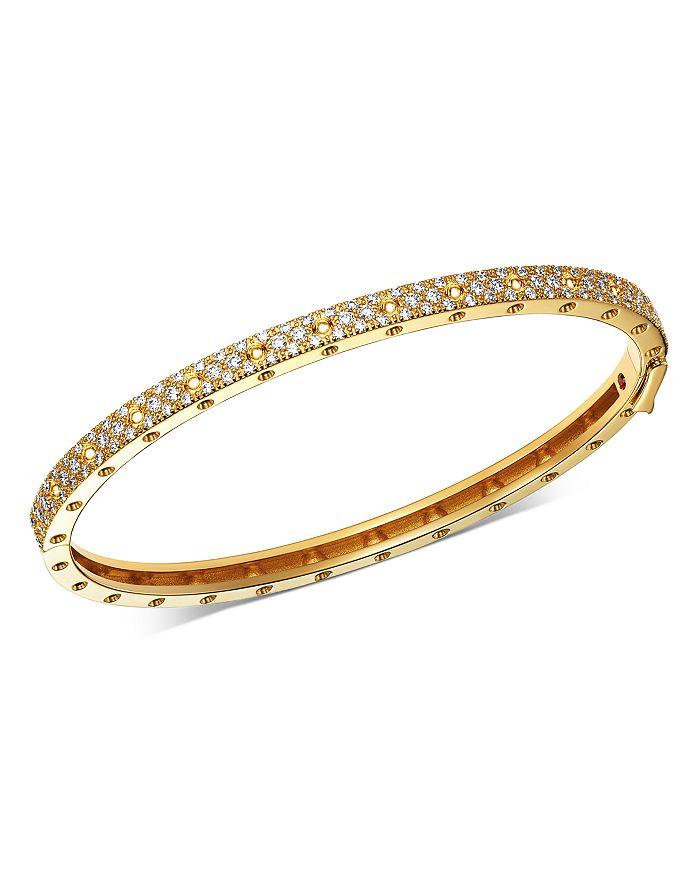 Roberto Coin - 18K Gold Symphony Pois Moi Diamond Hinged Bangle Bracelet