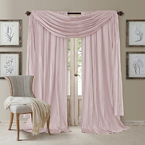 Elrene Home Fashions Athena 52 x 95 Crinkled Curtain Panels, Pair with Scarf Valance