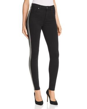 7 For All Mankind Embellished High Rise Ankle Skinny Jeans in B(air) Black with Caviar Beads 3117260