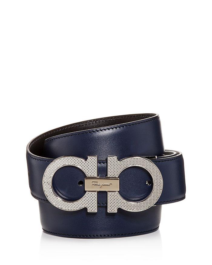 Salvatore Ferragamo - Men's Etched Double Gancini Buckle Reversible Leather Belt
