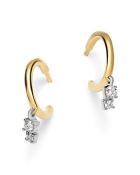Adina Reyter - 14K Yellow Gold & Sterling Silver Amigos Diamond Charm Huggie Hoop Earrings