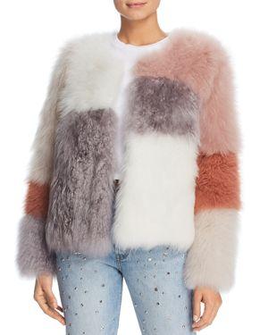 MAXIMILIAN FURS Check Short Cashmere Lamb Shearling Coat - 100% Exclusive in Multi