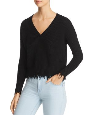 MARLED X Olivia Culpo Distressed Crop Sweater in Black