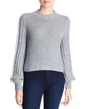 MARLED X Olivia Culpo Blouson-Sleeve Cropped Sweater in Gray/Ivory
