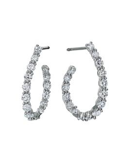 Gumuchian - 18K White Gold New Moon Diamond Curve Hoop Earrings