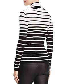 Minnie Rose - Striped Rib-Knit Turtleneck Sweater