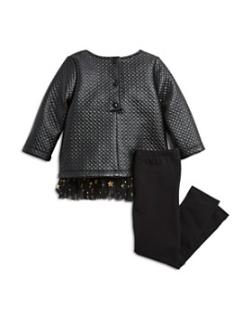 Pippa & Julie - Girls' Quilted Faux-Leather Top & Leggings Set - Little Kid