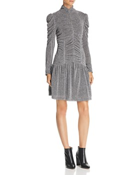 Rebecca Taylor Ruched Metallic Knit Dress