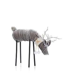 Bloomingdale's - Gray Velvet Deer Figurine - 100% Exclusive