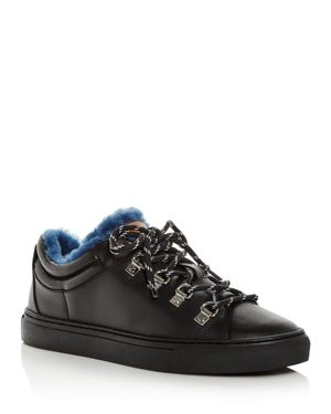 BALLY Women'S Heidi Leather & Shearling Lace-Up Sneakers in Black