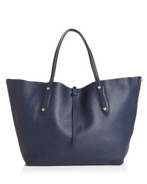 ANNABEL INGALL Isabella Large Leather Tote in Navy/Gold