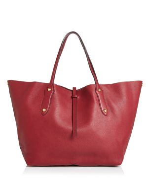 ANNABEL INGALL Isabella Large Leather Tote in Barberry Red/Gold