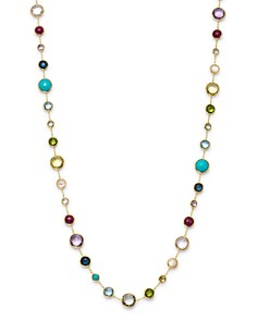 """IPPOLITA - 18K Yellow Gold Lollipop Lollitini Mother of Pearl, Green Gold Citrine, Peridot, Green Agate, Blue Topaz, Turquoise, London Blue Topaz, Amethyst & Pink Tourmaline Long Necklace, 36"""""""