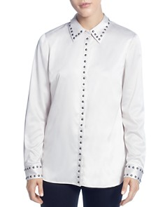 T Tahari - Studded Satin Button-Down Blouse