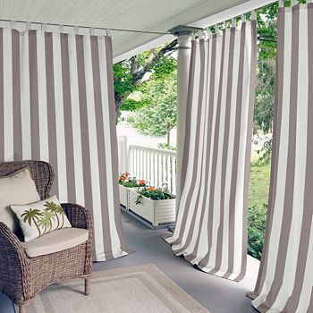 "Elrene Home Fashions - Highland Stripe Indoor/Outdoor Curtain Panel, 50"" x 108"""