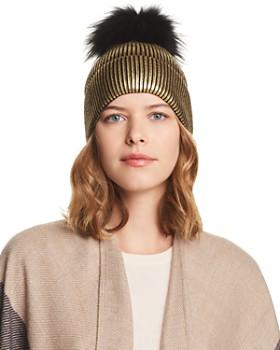 Jocelyn - Fox Fur Pom-Pom Metallic Beanie