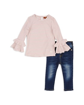7 For All Mankind - Girls' Ribbed Bell-Sleeve Top & Skinny Jeans Set - Little Kid