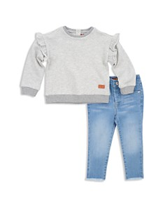 7 For All Mankind Girls' Ruffled Sweatshirt & Frayed Skinny Jeans Set - Baby - Bloomingdale's_0