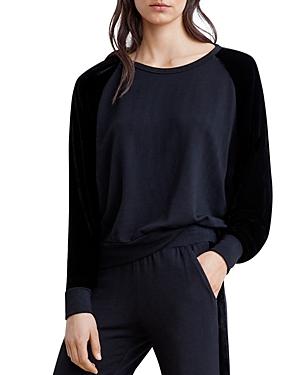 Velvet by Graham & Spencer Westine Velvet-Sleeve Sweatshirt