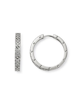 Roberto Coin - 18K White Gold Symphony Pois Moi Diamond Hoop Earrings