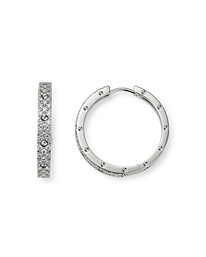 Roberto Coin 18K White Gold Symphony Pois Moi Diamond Hoop Earrings