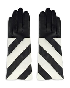 ARISTIDES Striped Rabbit Fur-Trim Gloves - Bloomingdale's_0