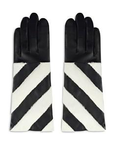 ARISTIDES - Striped Rabbit Fur-Trim Gloves
