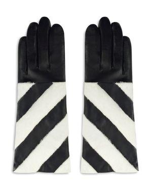 ARISTIDES Striped Rabbit Fur-Trim Gloves in Black/White