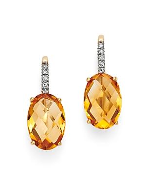 Citrine & Diamond Oval Drop Earrings