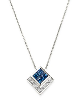 """Bloomingdale's - Sapphire & Diamond Square Pendant Necklace in 14K White Gold, 16"""" - 100% Exclusive"""