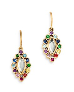 SheBee - 14K Yellow Gold Sapphire, Blue Topaz, Amethyst & Tsavorite Rainbow Drop Earrings