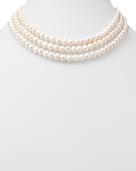 Bloomingdale's - Cultured Freshwater Pearl Three-Strand Necklace in 14K Yellow Gold - 100% Exclusive